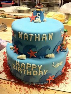 Beach Themed Birthday Cake From Roscoe Bakery In Los Angeles Cakedesign Cakedecorating