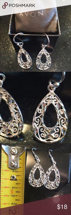 925 Sterling Silver Earrings- Never Worn! Beautiful sterling silver filigree drop earrings: Open teardrop shape; Open back (no post); BRAND NEW- NEVER WORN. Avon Jewelry Earrings