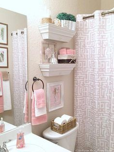 Restroom decor - Hello everyone! It is hard to believe we are already in the month of May In Texas we have been having very warm weather for a few week Pink Bathroom Decor, Bathroom Interior, Small Bathroom, Bedroom Decor, Budget Bathroom, Barn Bathroom, Girl Bathrooms, Bathroom Canvas, Girl Bathroom Ideas