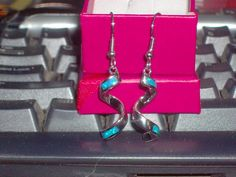 LOOK!! A STUNNING PAIR OF STERLING SILVER AND GENUINE AUSTRALIAN BLUE FIRE OPAL EARRINGS