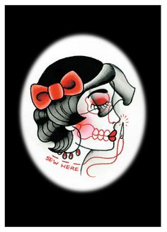 Sew Here $7 #print #etsy #girl #skeleton #tattoo #flash #traditional