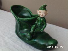 Vintage 1950s Elf Figurine Planter Shoe By Treasure Craft