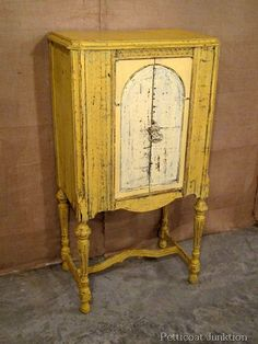 Painted Cabinet using Miss Mustard Seeds Milk Paint in Mustard Seed Yellow --  Petticoat Junktion