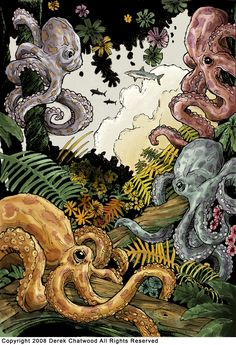 A selection of beautiful illustrations by artist Derek Chatwood, aka PopRelics, who leads us into a poetic world populated by flying sharks, amid of references Kraken, Illustration Story, Illustrations, Cthulhu Art, Ghost In The Machine, Octopus Art, Nautical Art, Ocean Art, Graphic