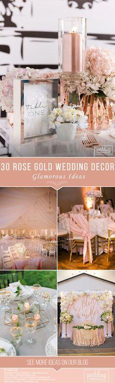 30 Glamorous Rose Gold Wedding Decor Ideas ❤ See more: http://www.weddingforward.com/rose-gold-wedding-decor/ #weddings #decor #weddingdecorations #weddingdecor #rosegoldweddingdecor