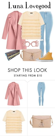 """""""Luna Lovegood / Harry Potter"""" by waywardfandoms ❤ liked on Polyvore featuring Luna, Topshop, J.Crew, Converse, harrypotter, casualoutfit, hp, pastel and CasualCosplay"""