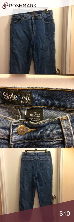 Style and co ladies jeans 14P Style and company ladies jeans size 14 petite .pre  owned in very good condition. Smoke free home . Style & Co Jeans Straight Leg