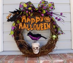 Halloween Wreath Happy Halloween Raven Skull by FeistyFarmersWife, $50.00