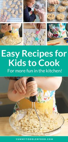 Here are a few of my go-to recipes for kids to cook (with a little help!) when you're in need of fun toddler activities to increase their exposure to healthy foods, keep them busy, AND make foods to share at the next meal or snack. Easy Meals For Kids, Toddler Meals, Kids Meals, Healthy Sugar Cookies, Healthy Oatmeal Cookies, Healthy Yogurt, Healthy Foods, Baby Food Recipes, Easy Recipes