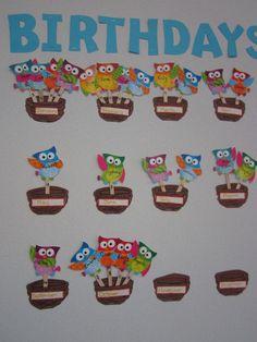 birthday calendar in the classroom Birthday Calendar Classroom, Birthday Bulletin Boards, Owl Theme Classroom, Classroom Crafts, Preschool Activities, Birthday Display, Birthday Wall, Birthday Board, Birthday Charts