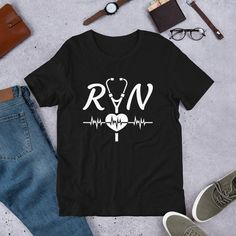 Registered Nurse design Short-Sleeve Unisex T-Shirt by MKCoolDesigns on Etsy Shirt Shop, Shirts For Girls, Fabric Weights, Female Models, Funny Tshirts, Short Sleeves, Unisex, Lady, Mens Tops