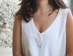 Dainty sterling silver necklace Silver V necklace by SharonTasker