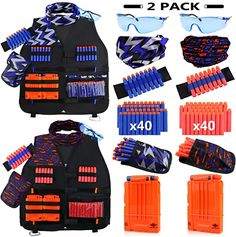 UWANTME 2 Pack Kids Tactical Vest Kit for Nerf Guns N-Strike Elite Series for Boys Girls Animals-Plush Toys Animals-Teddy Bears Bedding Blankets Toys Toys-Practical Jokes Arma Nerf, Nerf Accessories, Cool Nerf Guns, Nerf Toys, Art And Craft Videos, Nerf War, Toys For Boys, Girls Toys, Pokemon Trading Card