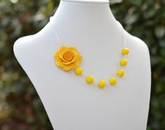Items similar to FREE EARRINGS Yellow Flower Necklace, yellow rose Necklace, yellow bridesmaid necklace, yellow Summer Necklace on Etsy Summer Necklace, Rose Necklace, Clay Jewelry, Flower Jewelry, Yellow Bridesmaids, Different Types Of Flowers, Biscuit, Polymer Clay Flowers, Flower Shape