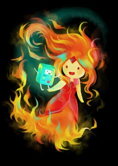 Flame Princess and BMO by monorhapsody on DeviantArt Adventure Time Flame Princess, Marshall Lee Adventure Time, Adventure Time Characters, Adventure Time Finn, Cartoon Network Adventure Time, Little Mermaid Cartoon, Adventure Time Parties, Adventure Time Wallpaper, Time Cartoon