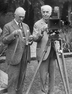 Thomas Edison demonstrates the Kinetograph to George Eastman (of Eastman Kodak). The Kinetograph was patented in 1891 and took a series of instantaneous photographs on standard 35mm Eastman Kodak film.