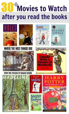 Encourage reading with the promise of a movie. This Raise a Reader blog lists 30+ books turned into films that you can watch with your children after you read the book!