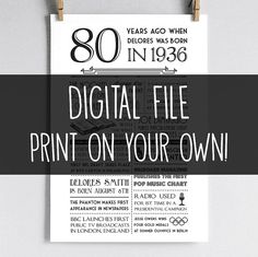 Personalized 80th Birthday Poster 1936 by laurelcovecreative