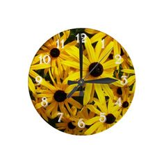 Black Eyed Susans Wall Clock #flowers #nature #clocks