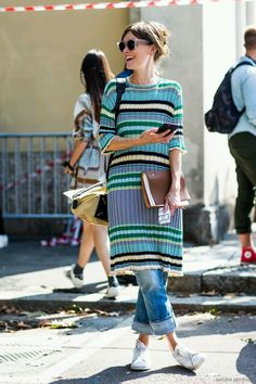 Dress over jeans with sneakers.