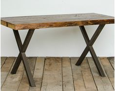 Urban Wood Goods rustic dining table, Reclaimed Wood Table.