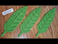 Crochet Big Leaf Applique - YouTube Crochet Leaves, Crochet Flowers, Big Leaves, Green Leaves, Free Crochet, Crochet Hats, Hanging Garland, Beautiful Day, Embellishments