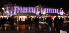 photo de nuit prise à Toulouse: marché de noël