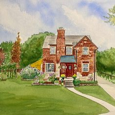 Beautiful English Tudor style home. Hand painted watercolor house portraits. Watercolor Artwork, Watercolor Paper, House Paintings, Tudor Style Homes, English Tudor, Realtor Gifts, Hand Sketch, Cool Lighting, Custom Paint