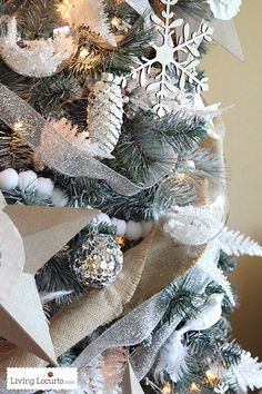 46 Lovely Silver And White Christmas Tree Decorations Ideas. Everywhere you look this time of year you'll see Christmas tree decoration ideas. Grey Christmas Tree, White Christmas Tree Decorations, Christmas Tree Painting, Blue Christmas Decor, Beautiful Christmas, Christmas Holidays, Christmas Tree Colour Scheme, Victorian Christmas, Party