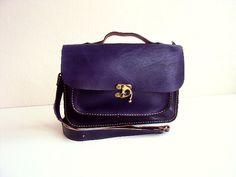 Purple Leather Messenger Bag Tote Bag ipad Bag for by ammaciyo