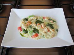 Risotto   pollo  verdure  pesto di basilico e  salsa al curry  Gino D'Aquino