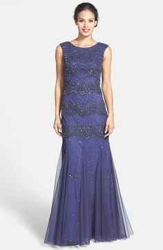 Adrianna Papell Beaded Mesh Gown (Regular & Petite) available at #Nordstrom