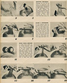 Here are some hair setting tips from HairDo April-May If you trying to create hairdo from the where could you find better instruc. Pin Up Hair, Big Hair, Beauty Ad, Hair Beauty, Roller Set, Hair Roller, Dumb Blonde Jokes, 1960s Hair, Hair Patterns