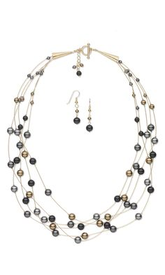 Jewelry Design - Multi-Strand Necklace and Earring Set with Swarovski Crystal Pearls and Accu-Flex® Beading Wire - Fire Mountain Gems and Beads