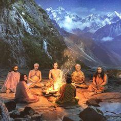 Just me & the homies sitting around a camp fire 🔥😉🙏 Mahavatar Babaji, Spiritual Photos, Saints Of India, Shiva Parvati Images, Baby Buddha, Yoga Master, Lord Vishnu Wallpapers, Hindu Art, Indian Gods