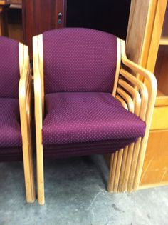 Chairs - $10  These beautiful chairs are upholstered with a purple pattern fabric. At only $10 apiece these 13 chairs can adorn any type of home, office or conference room.