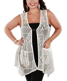 Another great find on #zulily! Cream Sheer Crochet Toggle Vest - Plus by Lily #zulilyfinds