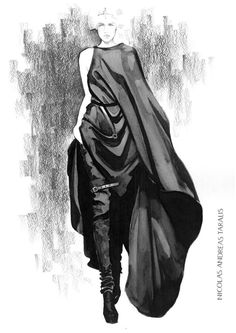 Fashion illustration - Nicolas Andreas Taralis dress sketch with long boots; fashion drawing // Yana Protasova