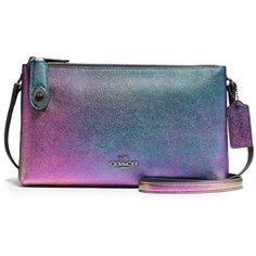 COACH Crosby Iridescent Leather Crossbody Bag (1.035 BRL) ❤ liked on Polyvore featuring bags, handbags, shoulder bags, apparel & accessories, hologram, leather purses, leather cross body purse, leather shoulder bag, coach handbags and blue crossbody purse