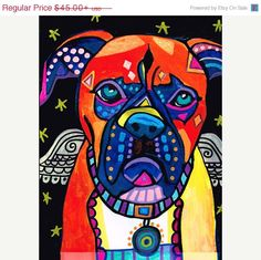 50% Off- Boxer art dog  Art Print Poster by Heather Galler (HG210)