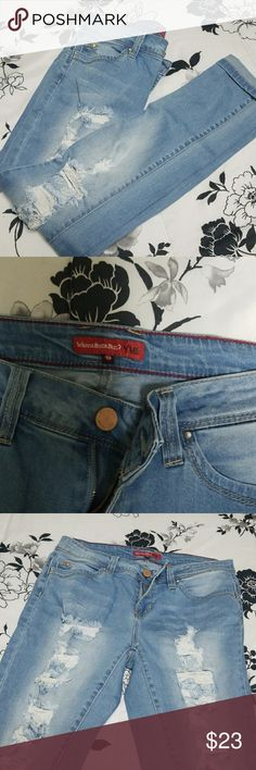 LIGHT BLUE SKINNY JEANS Only wore them once, they have some rips on the front side of the jeans. Stretchy jeans for sure! Size 13. YMI Jeans Skinny