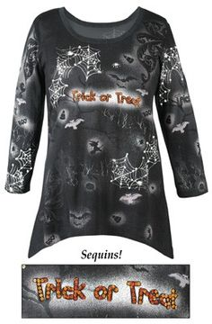 Halloween Trick or Treat Spider Web Tunic Top