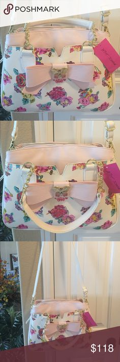 "NEW! BETSEY JOHNSON SATCHEL/XROSS BODY BAG BRAND NEW! AUTHENTIC BETSEY JOHNSON SATCHEL/CROSS BODY BAG-FLORAL TRIPLE COMPARTMENT-Approximate Measurements are 12""-14"" X 11"" X 5"", with a cross body strap drop of approximately 24""..., Betsey Johnson Bags Satchels"