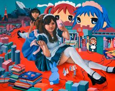 "Yumiko Glover: ""Moe"" Elements of the Floating World II, oil on canvas, 48"" x 60"", 2011.  #contemporaryart #moe #otaku #YumikoGlover"