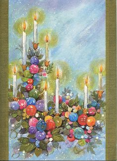 Vintage Festive Christmas Candles Card ~ a tad of Tangerine