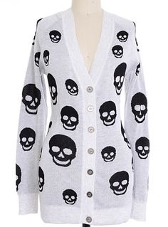 Smiling Skulls Boyfriend Cardigan, I'm in love with this!!
