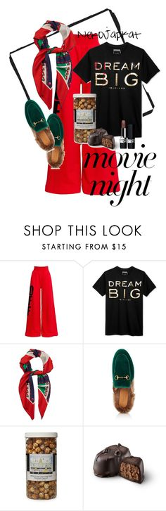 """""""movienight3"""" by neko-m-tucker-smith ❤ liked on Polyvore featuring Off-White, Sean John, Gucci, The Hampton Popcorn Company and Christian Dior"""