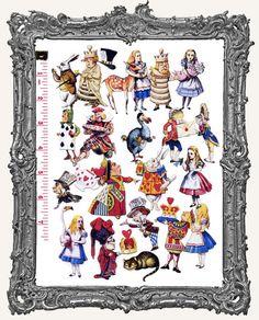 Alice in Wonderland Sheet Set | 22 Alice in Wonderland Paper Cuts