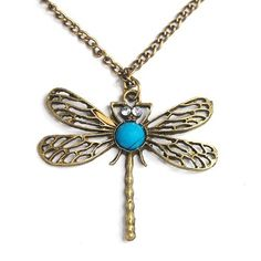 Classic vintage Bronze dragonfly pendant necklace chain -- You can find out more details at the link of the image.