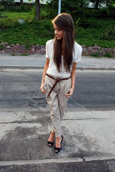 Zara trousers & peeptoe-heels. LOVE these khakis